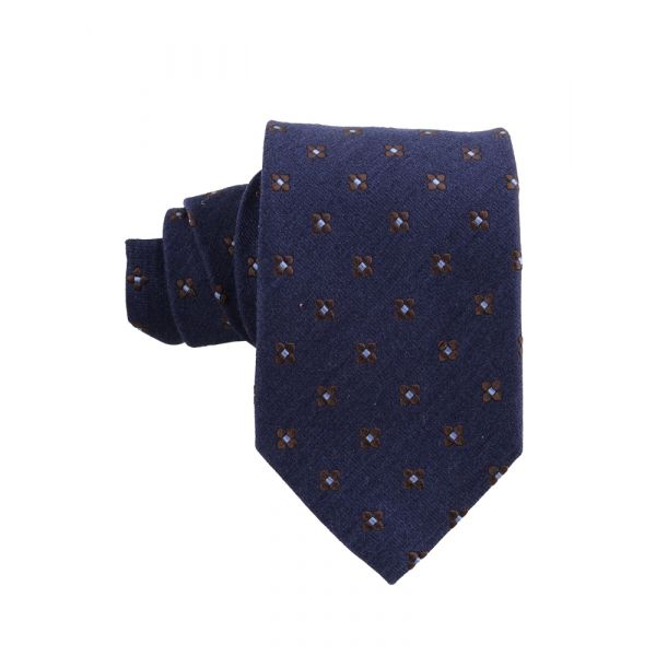 Silk/Wool 3-fold tie GRETA-Navy Blue
