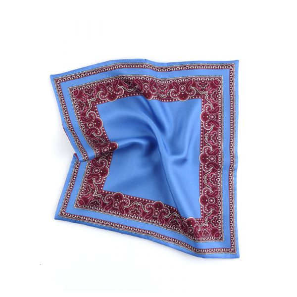 Printed silk double face pocket square MARBLE-Sky blue