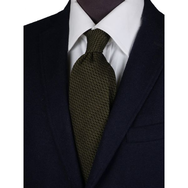 Cravatta 3 pieghe seta/lana IVONA-Verde oliva