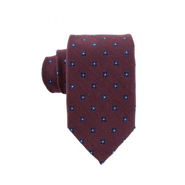 Cravatta 3 pieghe seta/lana GRETA-Bordeaux