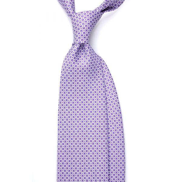 Cravatta 3 pieghe AD1903 VIOLA in seta inglese stampata