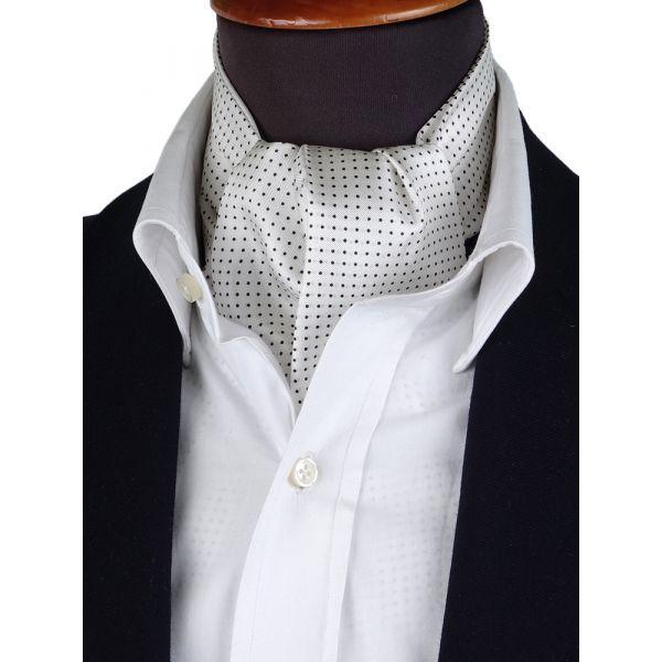 Men ascot VALDA White  printed silk