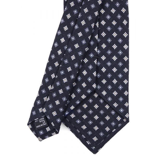 Cravatta 3 pieghe in seta/lana CARLOS- Nero
