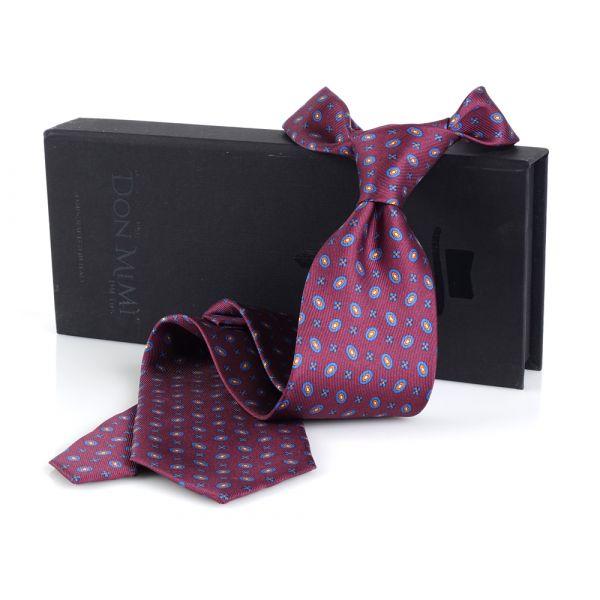Cravatta 3 Pieghe COMO in seta lusso- Bordeaux