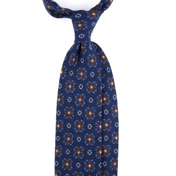Cravatta 3 pieghe in flanella di lana COSENZA-Blu