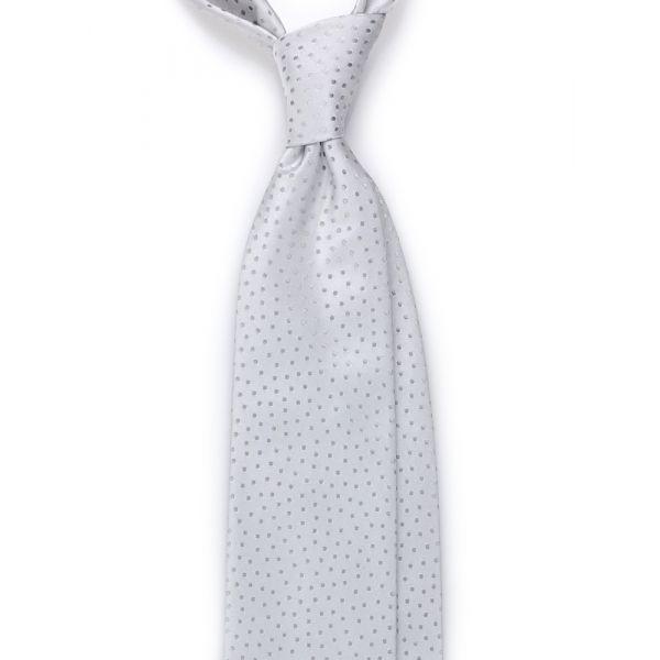 Cravatta 3 pieghe  ABASIA in seta TESSUTA - Grigio chiaro