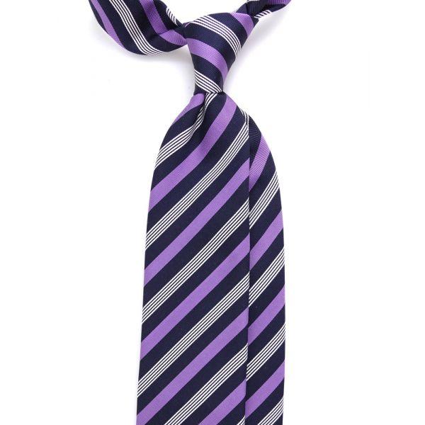 Cravatta 3 pieghe LAISA in seta/cotone - Viola