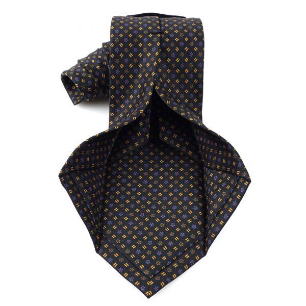 Cravatta 7 Pieghe DALMATA in seta inglese stampata-Nero