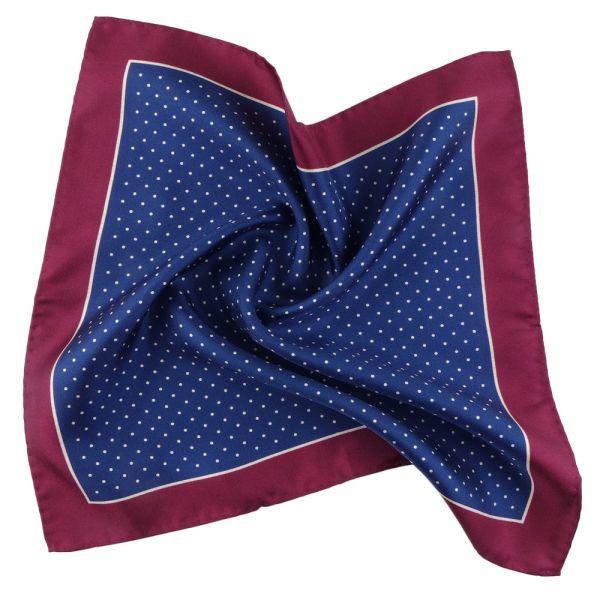 Printed silk pocket square DOT - Blue
