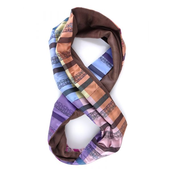 Sciarpa INFINITY FINTA in seta tessuta e lana modal - Rosa