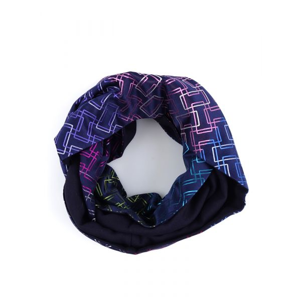 Sciarpa INFINITY PABLO in seta tessuta e lana modal - Blu Scuro