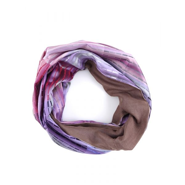 Sciarpa INFINITY TRATTO in seta tessuta e lana modal - Rosa