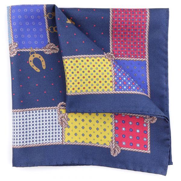 Printed silk pocket square LUCKY-Blue
