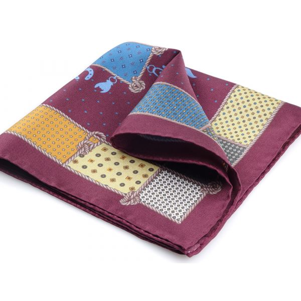 Printed silk pocket square LUCKY-Burgundy