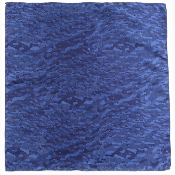 Woven silk pocket square MIL-Avion blue