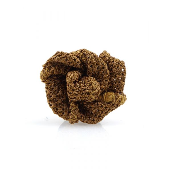 Button lapel flower ONICE - Grenadine silk-Light brown