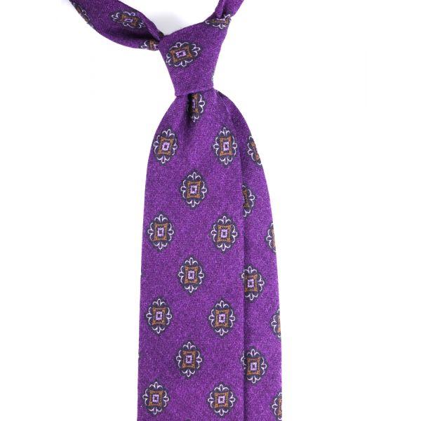 Cravatta 3 pieghe in flanella di lana PALERMO-Viola