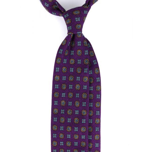 Cravatta 3 pieghe in flanella di lana PESCARA-Viola