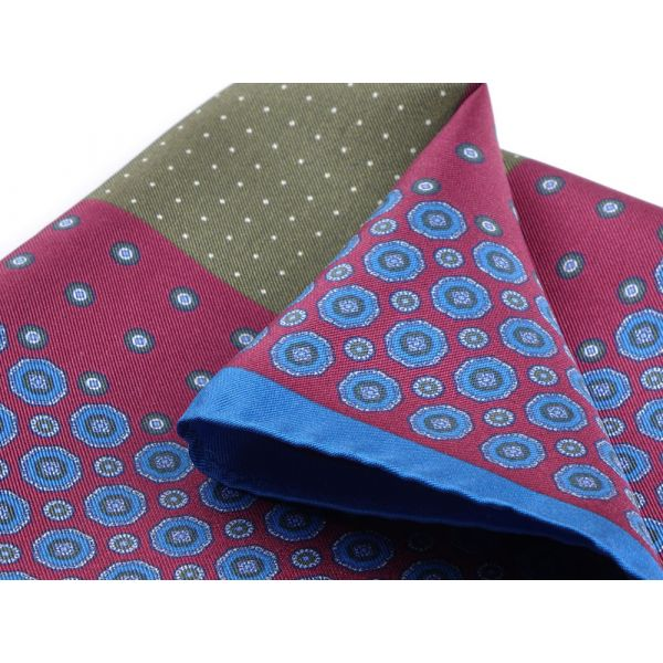 Printed silk pocket square STARLETTE-Burgundy