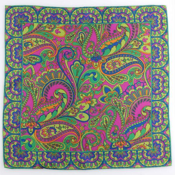 Printed silk pocket square SPRING-light green