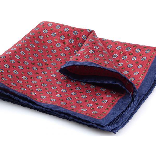 Printed silk pocket square NUCCIA-Red