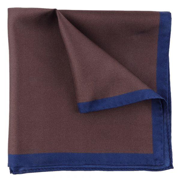Printed silk brown pocket square MARA