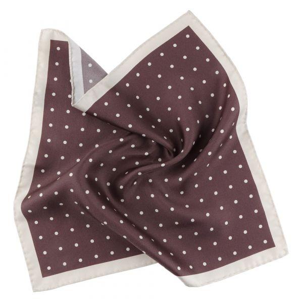 Printed silk pocket square PARDA - Brown