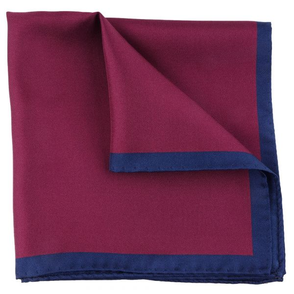 Printed silk pocket square MARA - Burgundy