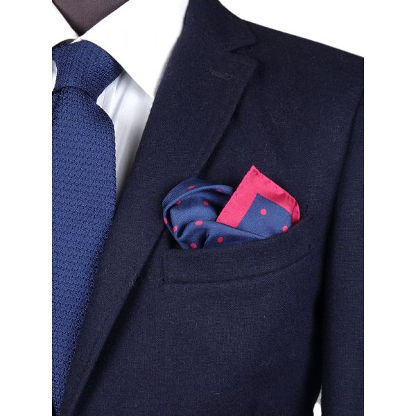 Printed silk pocket square PARDA - Navy blue