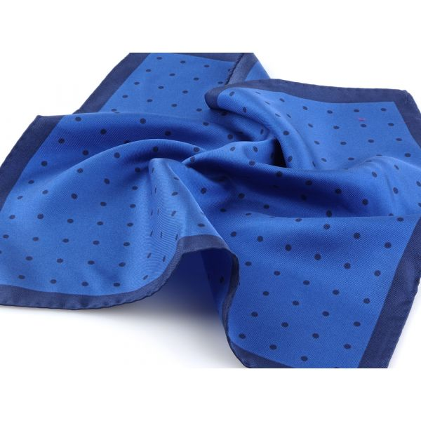 Printed silk pocket square PARDA - Royal blue