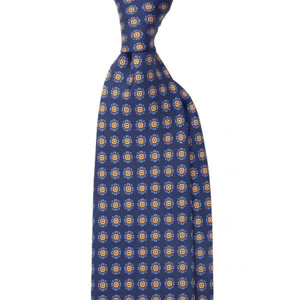 Newcatwill silk 3-fold tie REMIA-Blue/Yellow
