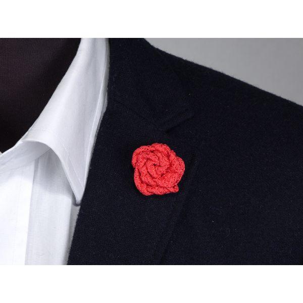 Spilla da giacca RUBINO - Garza di seta-Corallo