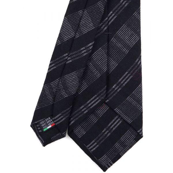 Cravatta 3 Pieghe SCACCHI lana - Nera