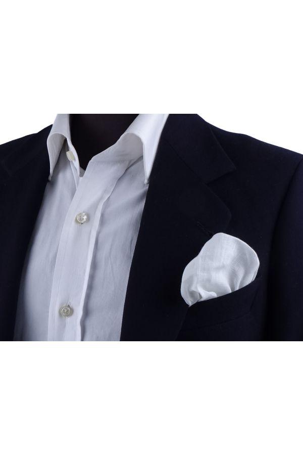 Fazzoletto da taschino 70% cotone 30% lino UNITO - Blu Scuro