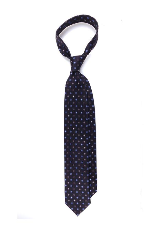Cravatta 3 pieghe seta lusso stampata NOTTHINGAM- Nero