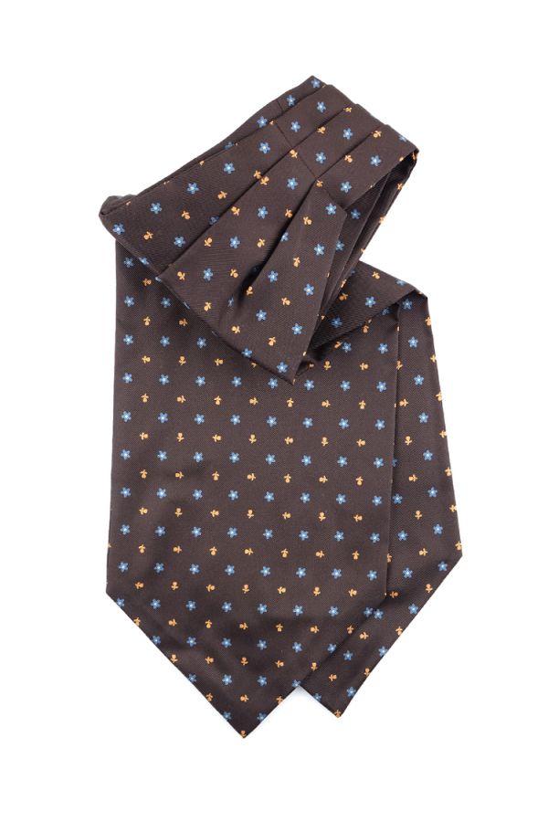 Men ascot AD1878 brown English printed silk