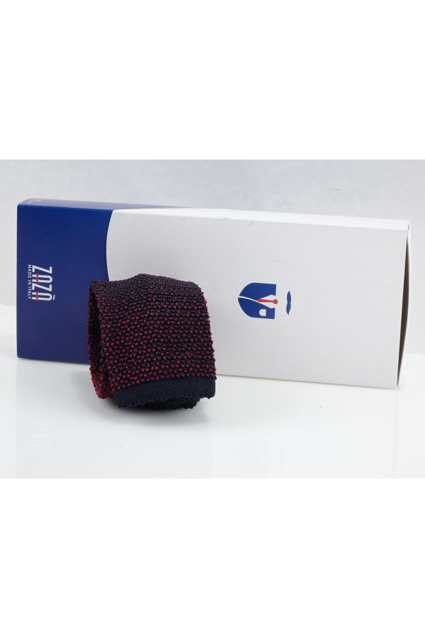 Knitted tie META-Red