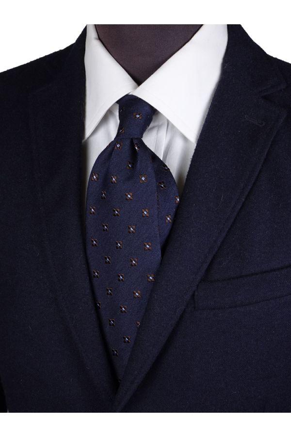 Cravatta 3 pieghe seta/lana GRETA-Blu scuro