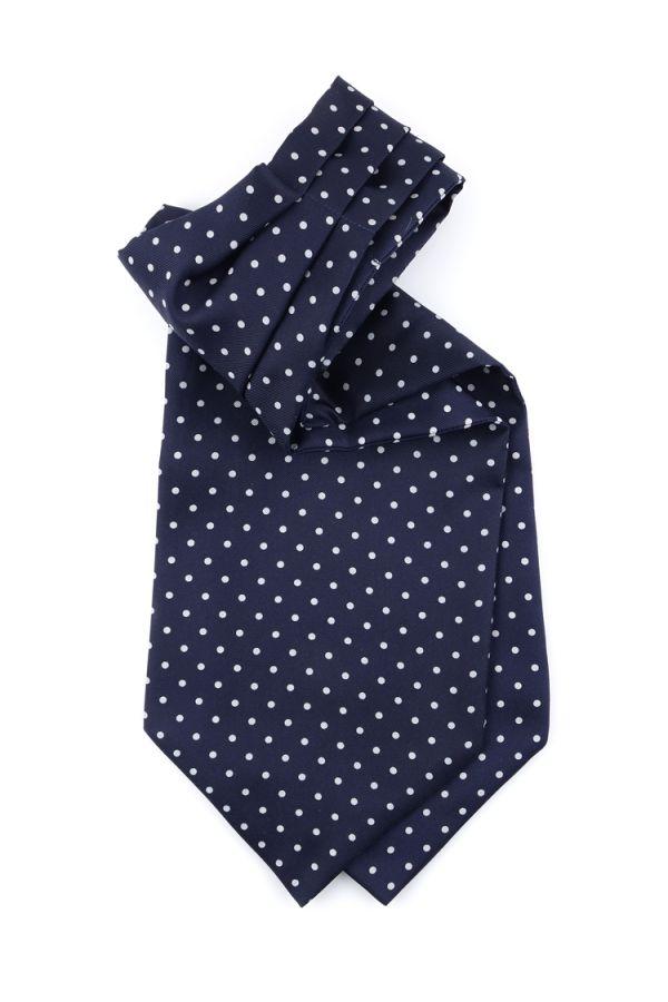 Men ascot AD1882 blue English printed silk