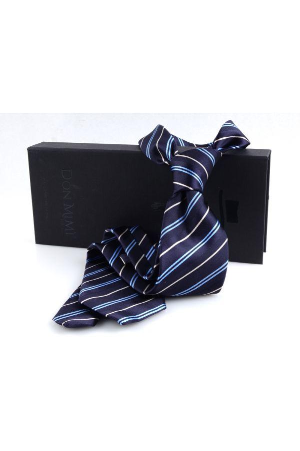 Cravatta 3 pieghe LX188in seta_Blu