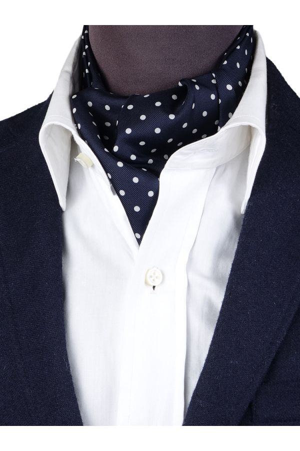 Ascot uomo AD1882 blu in seta inglese stampata