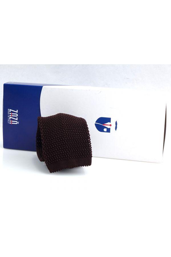 Woven silk knitted tie MACCA-Dark Brown