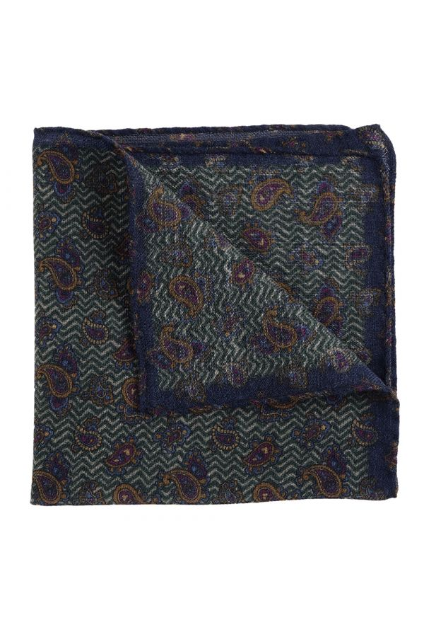 100% Wool pocket square TAIL-Green