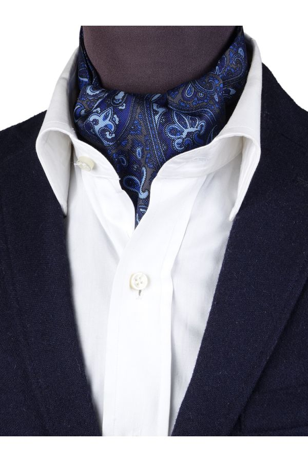 Men ascot AD2183 grey English printed silk