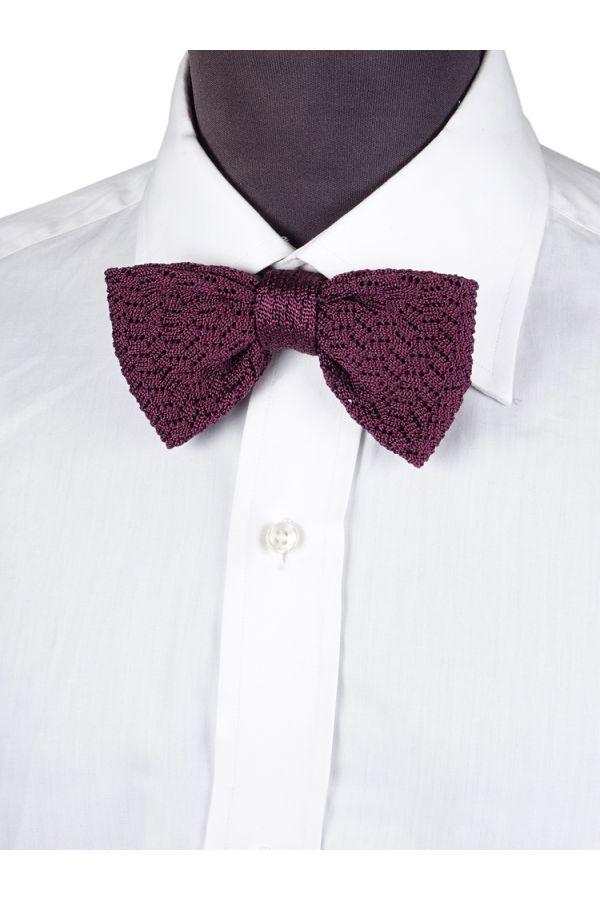 Knitted Sil Pre Tie Bow Tie CAPRI - Purple