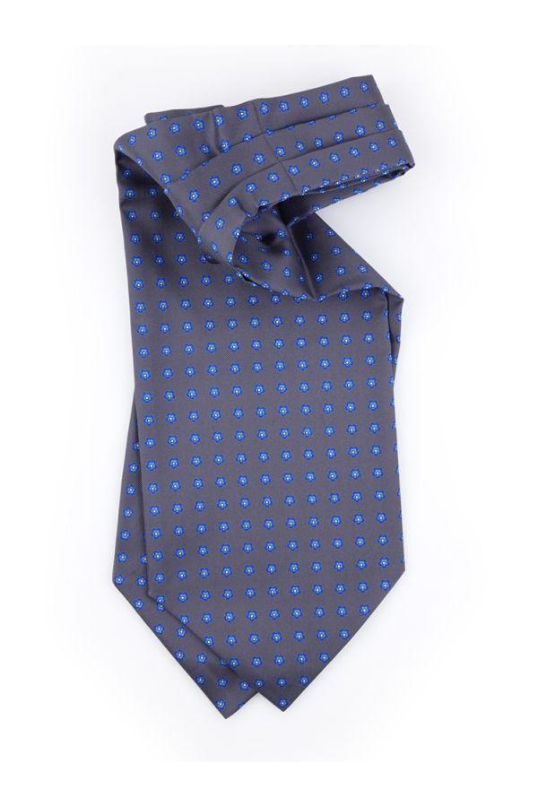Men ascot AD1943 blue English printed silk