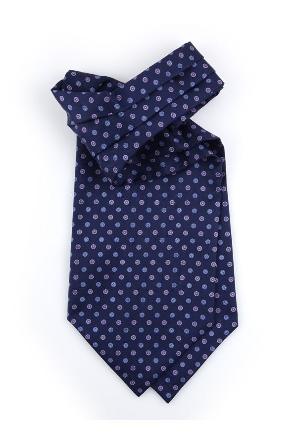 Ascot uomo AD1943 blu in seta inglese stampata