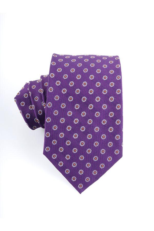 Cravatta 3 pieghe in seta FRAGOLA-Viola Colore Viola