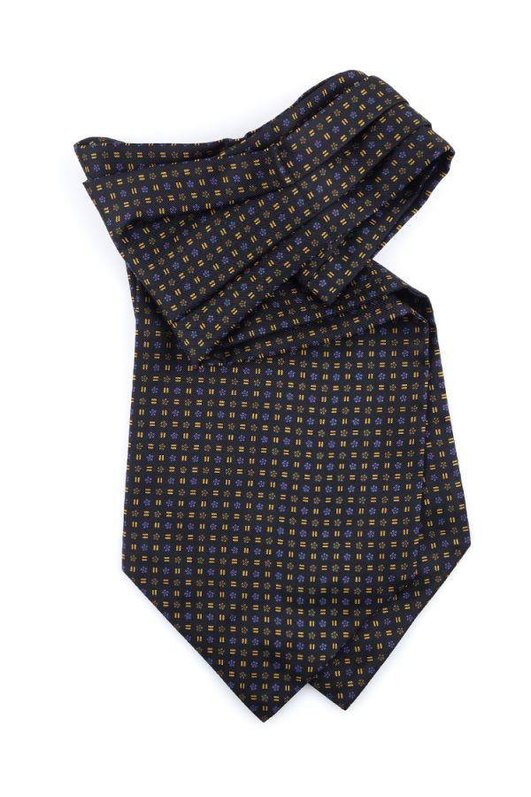 Men ascot AD1928 black English printed silk