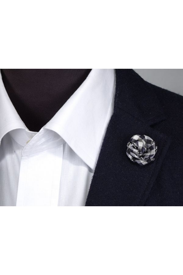 Spilla da giacca MALICA in tessuto-Blu scuro